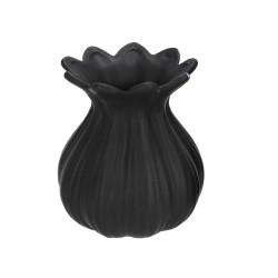 Vase Keramik schwarz bauchig